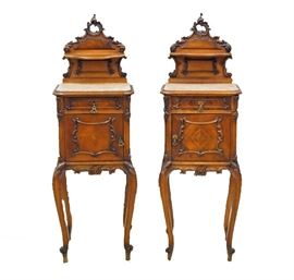 """19th C. Nightstands - A pair of late 19th century Louis XV style nightstands. Each nightstand measures 50 1/2"""" high."""
