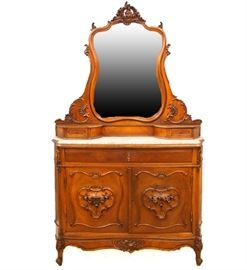 """19th C. Dresser - A late 19th century Louis XV style mahogany dresser. Marble top with interior drawers, measures 55"""" wide, 21 1/2"""" deep,  88 1/2"""" high."""