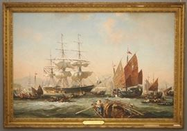 Leslie A. Wilcox, 1971, Harbor scene, oil on canvas