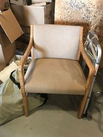 #4	side chair w tan seat and back wood arm 	 $30.00