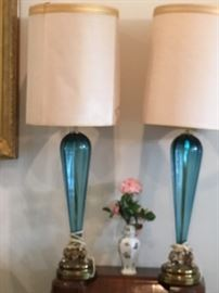 Beautiful blue matching vintage  lamps