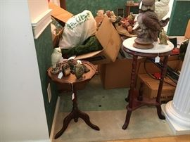 Several small marble top tables