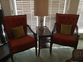 Nice upholstered chairs, nice end table and lamp