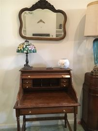 Roll top desk Beautiful stained glass lamp and antique hand carved wood mirror