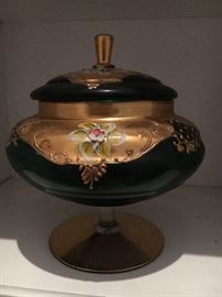 Beautiful green pedestal dish with top hand painted with 24 karat gold