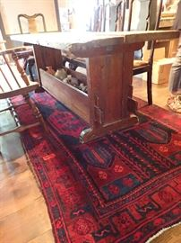 PRIMITIVE FARM TABLE WITH BOTTOM STORAGE / RED AREA RUG
