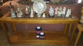 Sofa Table with Glass Inserts. Figurines