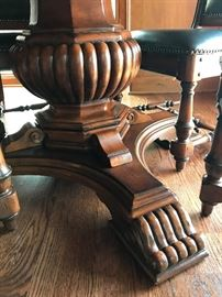 BURNISHED BROWN FINISH DINING TABLE WITH  BEADED DETAIL MOLDING