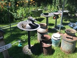 Plastic Birdbaths and Metal Cans
