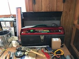 Various hand tools and tool box