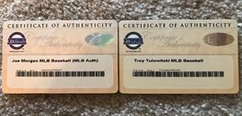 Certificates of Authenticity for autographed baseballs