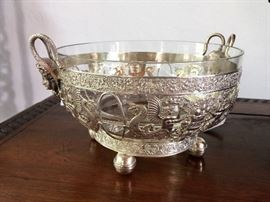 "Unsigned silverplate frame with crystal insert - stunning bowl 8.75"" diameter"