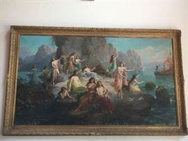 Oil on Canvas - Ulysses and the Island of Sirens - Painting Only - no frame - Early 20th Century - Signed P. Collini - condition issues - but a stunning piece of art