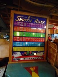 Vintage Bowling Shuffle Board. WORKS. Needs new switch. Lights Up, Pins Raise when you get a Strike.