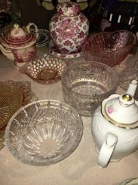 VARIOUS CRYSTAL AND DEPRESSION GLASS