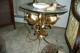 vintage glass and metal table