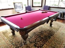 Olhausen pool table  with leather pockets. $500.
