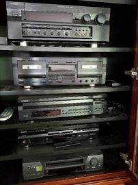 Yamaha RX-V2095 receiver, KX-W421 Cassette player, CDC 675 CD player, DVD S795 DVD player