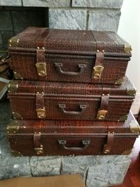 Cute leather decorate suitcases