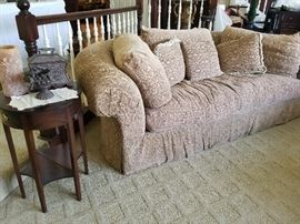 "Kidney shaped feather sofa - taupe color velvet. 8 feet long by 48"" deep. Elegant and comfortable $300"