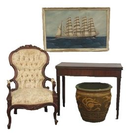 Early Mahogany Card Table, Victorian Chair, 'Schooner' Oil on Canvas by P. Benson