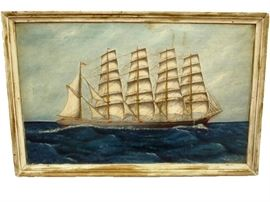 'Schooner' Oil on Canvas by P. Benson