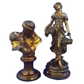 """19th Century Romantic Bronzes  - The """"Kiss"""" by Houdin &   """"Automne"""", 'Autumn' by Moreau"""