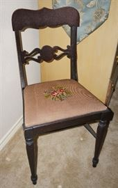 Antique chair with needlepoint seat