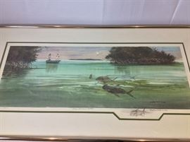 "Millard Wells (1921-2012), American Watercolor Society. ""From Emerald Waters"".  Artists Proof. Art Size 31"" x 30"". Frame Size: 38"" x 20""."
