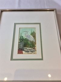 "Millard Wells (1921-2012), American Watercolor Society.  Egret Watercolor. Art Size 5"" x 7"". Frame Size 12"" x 14""."
