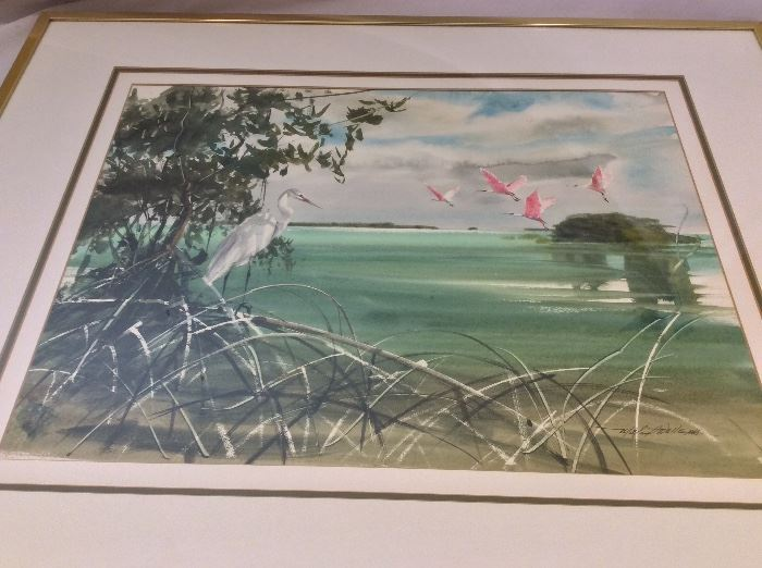 "Millard Wells (1921-2012), American Watercolor Society. Watercolor Egret and Roseate Spoonbills. Art Size 23"" x 17""."