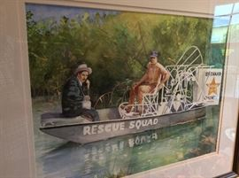 Brevard County Rescue Squad, Brevard County Sheriff, Watercolor by Local Artist Kiki Davidow, Florida Watercolor Society.