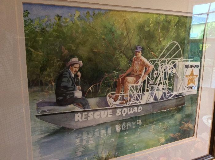 Brevard County Rescue Squad, Brevard County Sheriff, Watercolor by Local Artist Kiki Davidow, Florida Watercolor Society.