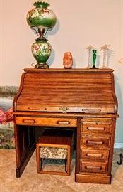 Antique roll-top desk, Parlor lamp
