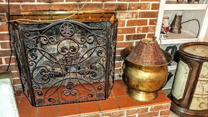 Copper & iron fireplace items