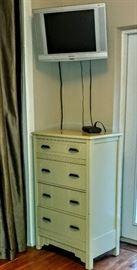 White dresser & TV