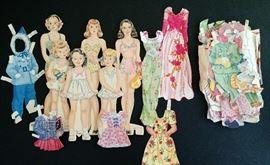 Set of six vintage paper dolls