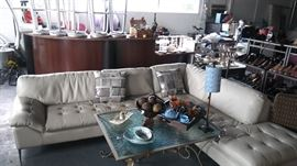 Cream Leather Sofa by Château Dax 2 years old  In Great Condition