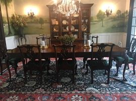 Hekman burl wood Dining Room table, six side chairs, two arm chairs, Hekman lighted china cabinet