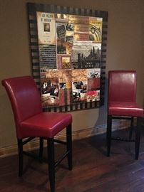 bar height chairs $25/each and large wall art - $25