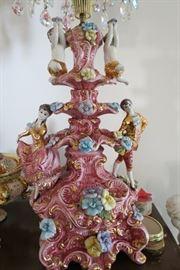 # 101   Pair of Large Capodimonte Lamp