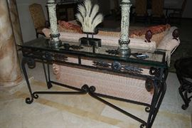 "GLASS TOP SOFA TABLE - ONE CORNER ""AS IS"" WITH CHIP IN GLASS.  DECOR SOLD."