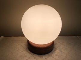Danish Modern globe table lamp with teak base