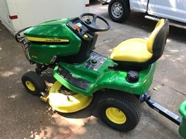 "2017 John Deere X350 lawn tractor 42"" deck with utility trailer (10P)"
