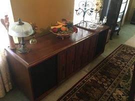 BEAUTIFUL SEBURG HOME STEREO SYSTEM.  HOLDS FIFTY (50) 33 1/3 LP ALBUMS PLUS AM/FM STEREO RADIO.