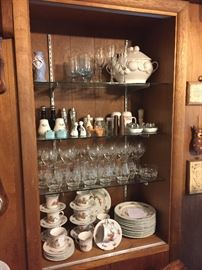 Partial assortment of glassware, Christmas Dinnerware, Holiday Glassware, Salt & Pepper Shakers and more!
