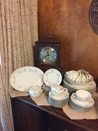 "Seth Thomas ""Legacy"" Mantel Clock - Wind-up German 3W; Set of Style House ""Serenade"" China, Pretty Crocheted Runner and much more!"
