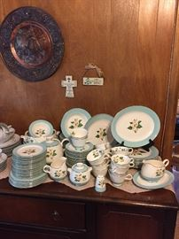 "Copper Wall Decor & Set of Lifetime China Turquoise ""Magnolia"" Dinnerware and much more!"