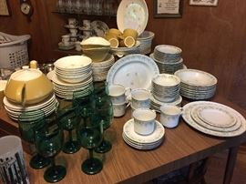 "Johan Haviland China Set; Blue Green Stemware; Retro ""Star Glow"" Royal China Dinnerware Set; Retro Wood Looking Table with Two Leaves, and much more!"