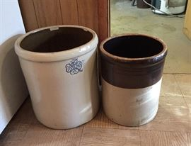 12 Gallon Miller Pottery (Alabama) Crock (on left side); and unknown Brown Eagle US 8 Gallon Crock (on right side)